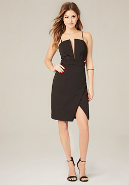 bebe Crepe Deep V Dress