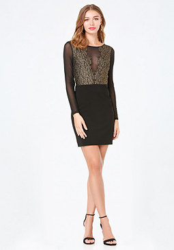 bebe Gold Lace Ponte Dress
