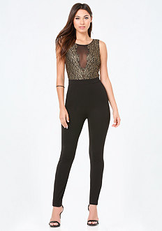 Gold Lace & Ponte Catsuit
