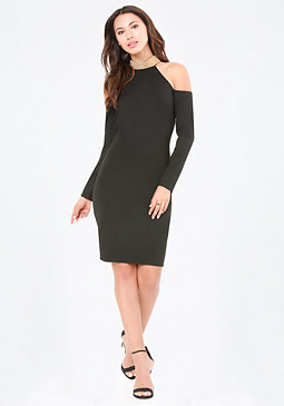 bebe Jeweled Mock Neck Dress