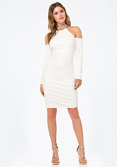 Jeweled Mock Neck Dress
