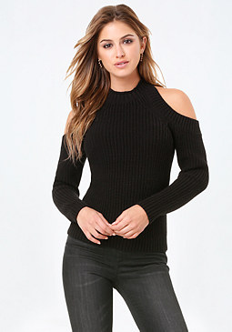 bebe Cold Shoulder Sweater