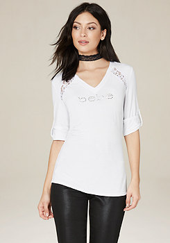bebe Logo Ellie Lace Inset Top