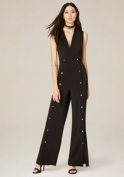 bebe Snap Wide Leg Jumpsuit