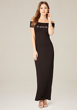 bebe Logo Shoulder Maxi Dress