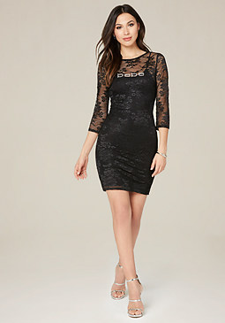 bebe Logo Lace 3/4 Sleeve Dress