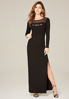 Logo Mesh Yoke Maxi Dress