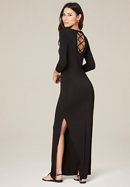 bebe Logo 3/4 Sleeve Maxi Dress