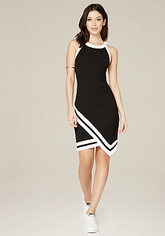 Ribbed Faux Wrap Dress