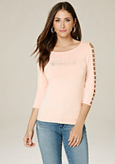 bebe Logo Cage Sleeve Top