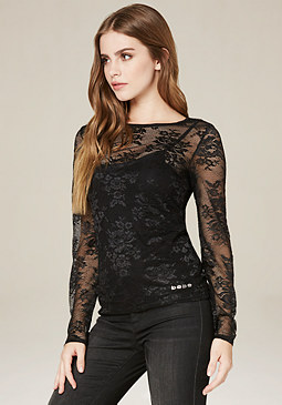 bebe Logo Lace Top
