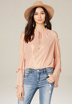 bebe Gathered Tie Neck Top