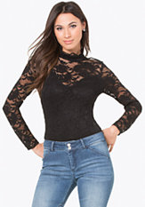 bebe Jenna Lace Mock Neck Top