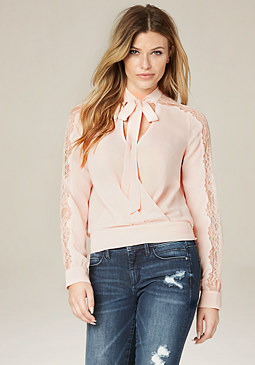 bebe Lace Inset Tie Neck Blouse