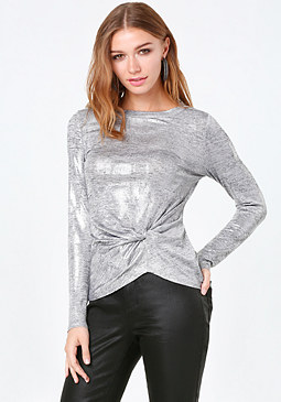 bebe Matty Metallic Twist Top