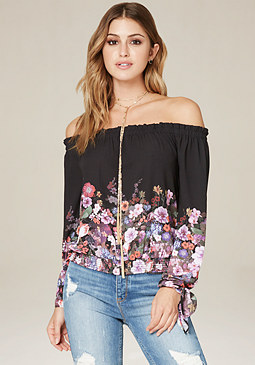 bebe Print Off Shoulder Top