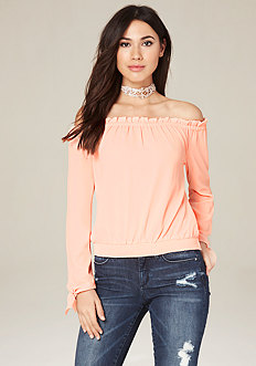 Tie Cuff Off Shoulder Top