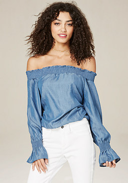 bebe Smocked Off Shoulder Top