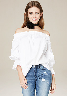 bebe Shirred Ruffle Top