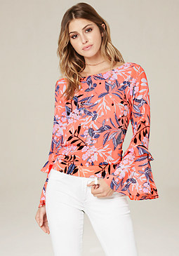 bebe Print Bell Sleeve Top