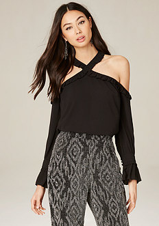 Crossneck Cold Shoulder Top
