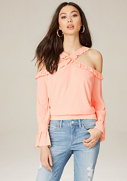 bebe Crossneck Cold Shoulder Top