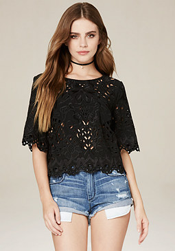 bebe Laser Cut Scallop Top