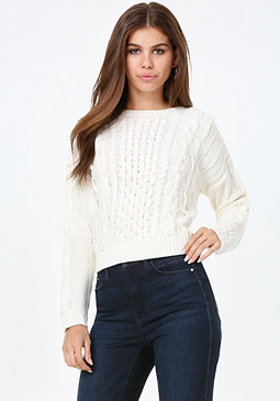 bebe Cable Crewneck Sweater