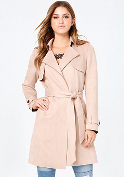 bebe Faux Suede Wrap Trench Coat