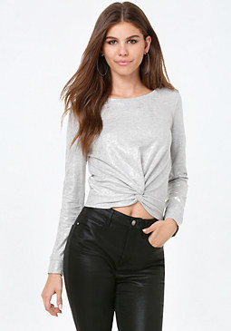 bebe Terry Foil Front Knot Top