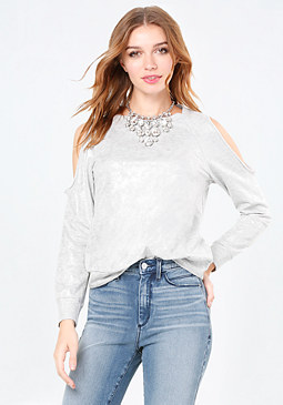 bebe Foil Cold Shoulder Top