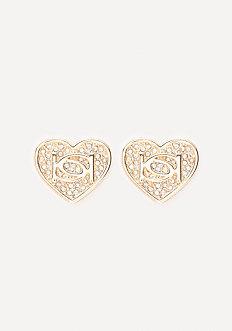 Logo Crystal Heart Earrings