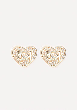 bebe Logo Crystal Heart Earrings
