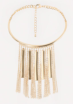 bebe Bar Fringe Collar Necklace