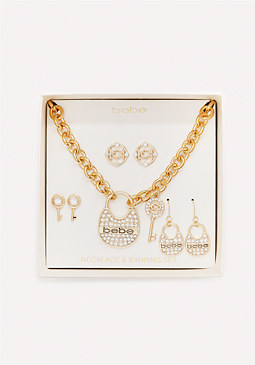 bebe Lock & Key Jewelry Set