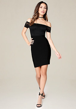 bebe Lori Off Shoulder Dress