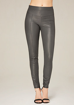 bebe Coated V-Yoke Leggings