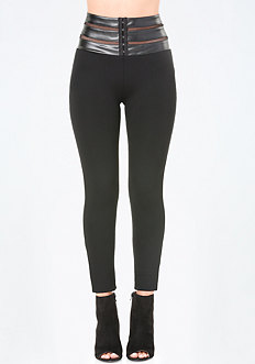 Faux Leather Waist Leggings