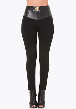 bebe Belted High Yoke Leggings