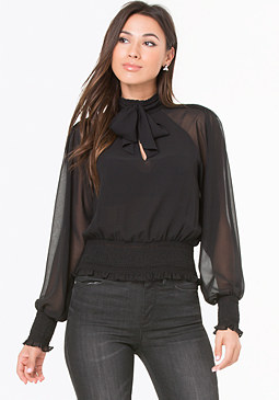 bebe Smock Band Tie Blouse