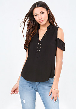 bebe Zoey Cold Shoulder Top