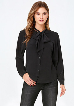 bebe Sandwashed Silk Tie Shirt