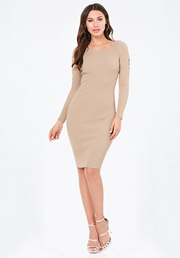 bebe Lace Up Sleeve Dress