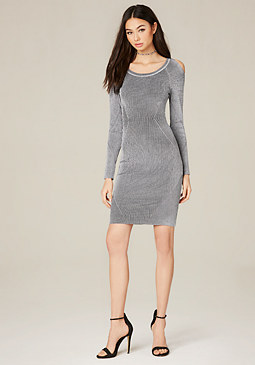 bebe Engineered Rib Dress