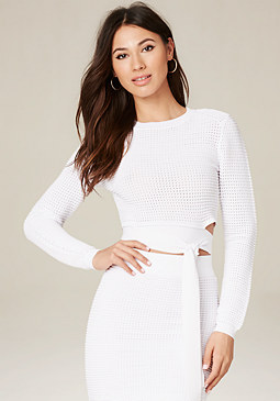 bebe Ottoman Wrap Tie Crop Top