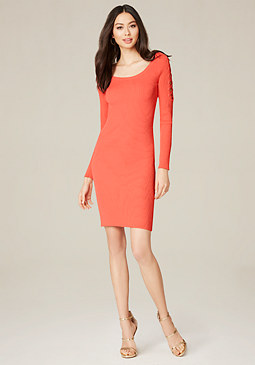 bebe Ribbed Lace Up Sleeve Dress