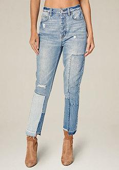 Blocked High Waist Jeans