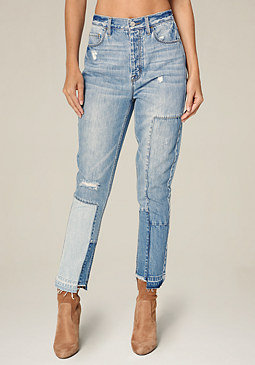 bebe Blocked High Waist Jeans