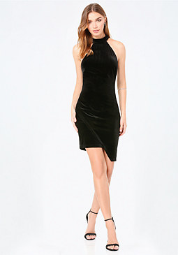bebe Velvet Asymmetric Dress