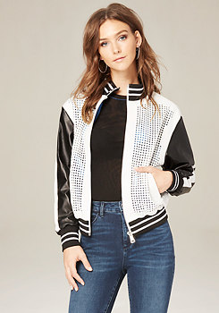 bebe Perforated Bomber Jacket